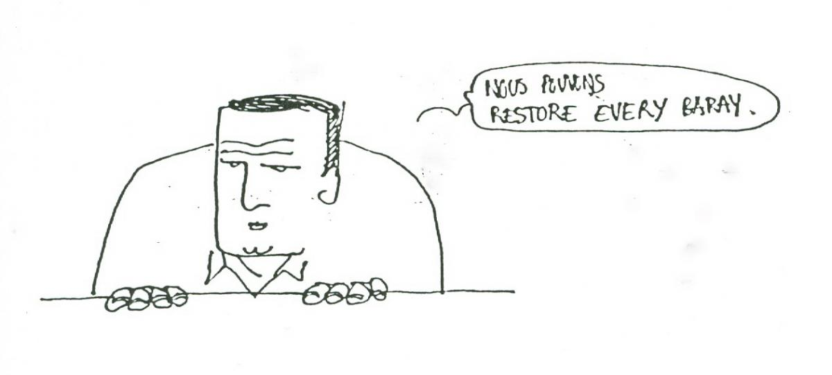 Caricature of Christophe Pottier (conservation architect) from Ferenc Garami hydrologist