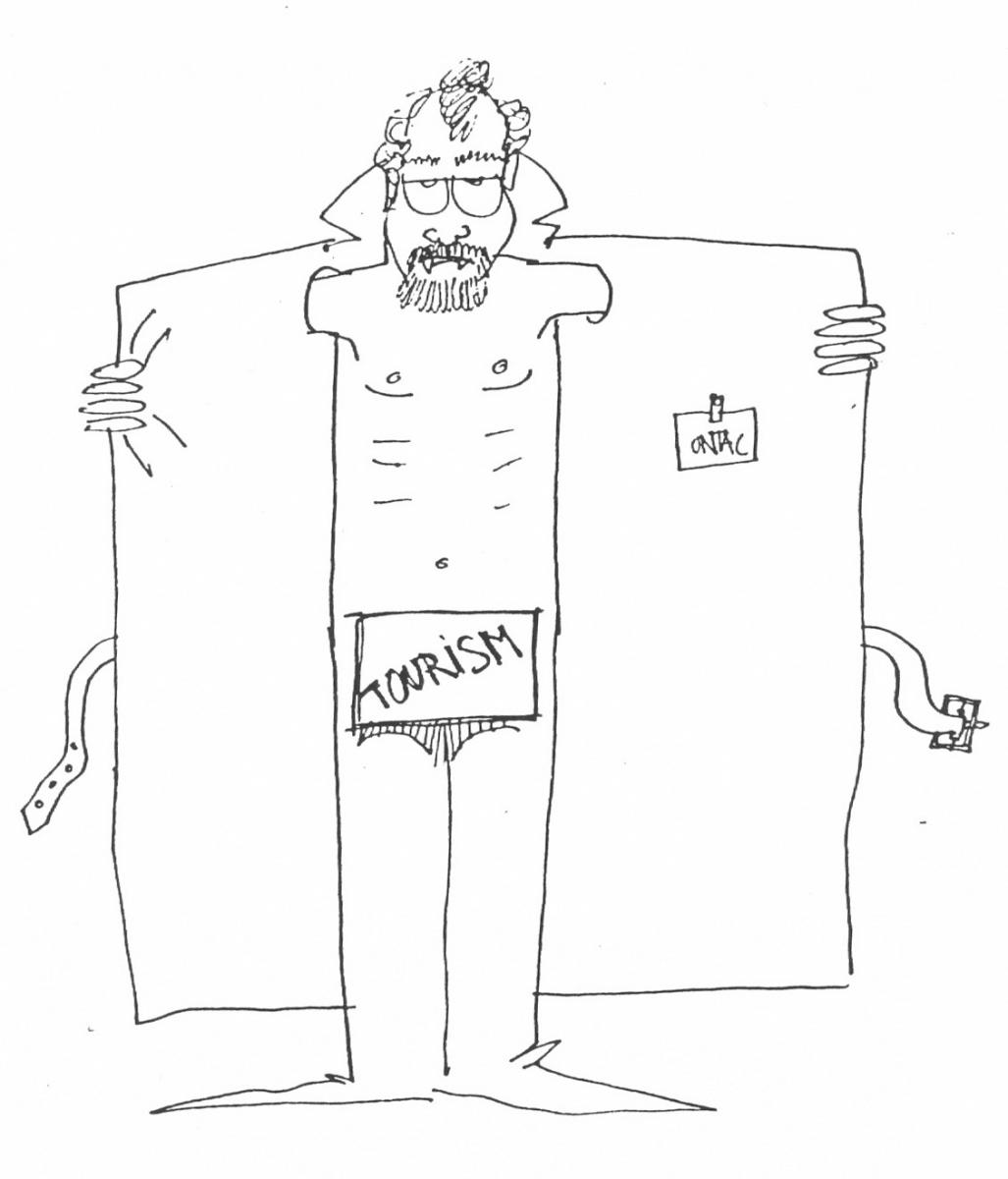 Caricature of Christophe Pottier (conservation architect) from  Peter Aderhold tourism economist
