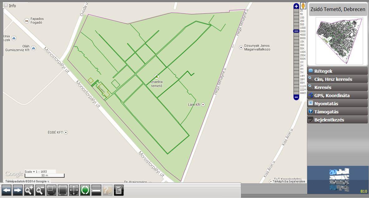 debrecen temető térkép Debreceni zsidó temető webes térinformatikai rendszere | Erda Kft. debrecen temető térkép